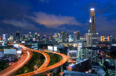 Bangkok cityscape. Traffic on the freeway in the business district. at dusk. photo
