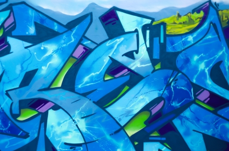 Graffiti over old dirty wall, urban painted with bright colorful