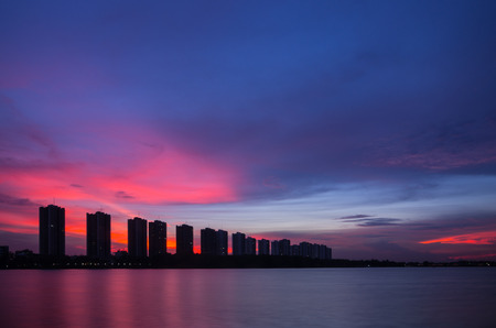 CItyscape modern residential building near the Bangkok sunset sky beautiful. photo