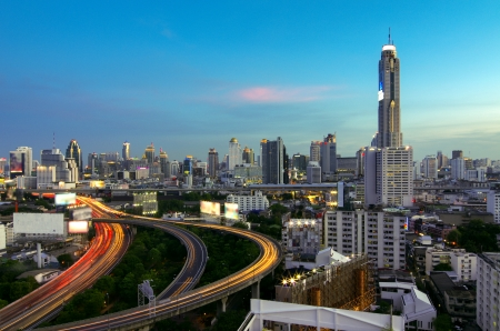 Bangkok cityscape. Traffic on the freeway in the business district. at dusk. Stock Photo