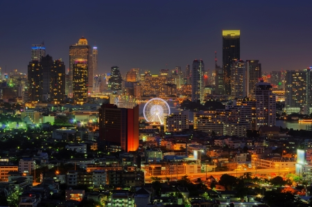 Bangkok cityscape. Bangkok night view in the business district. at dusk. photo