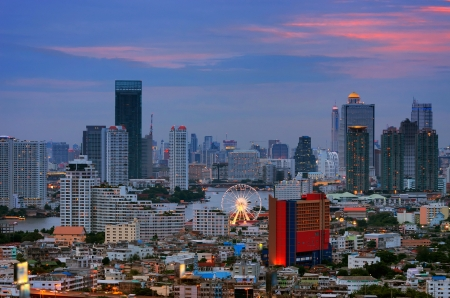 Landscape of Bangkok. Night view of Bangkok property. River at dusk. photo