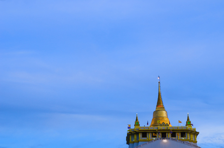 Golden mountain, an ancient pagoda at Wat Saket temple in Bangkok, Thailand photo