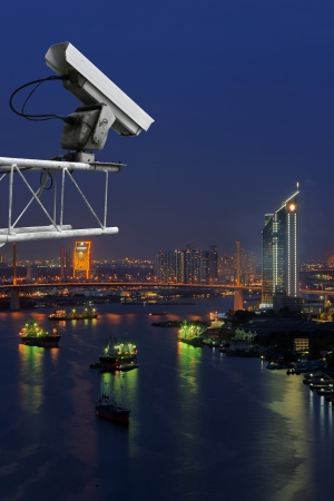 Security camera detects the movement of traffic  along Chao Phraya River. photo