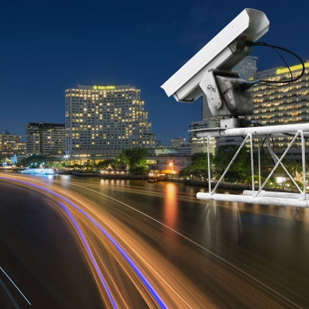 Security camera detects the movement of traffic. photo