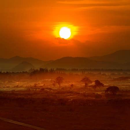 Landscape lignite coal mine at sunset, Thailand. photo