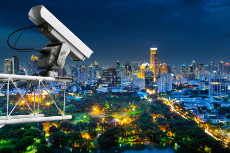 Security cameras monitor the movement of the top of the building, Aerial view of Bangkok.