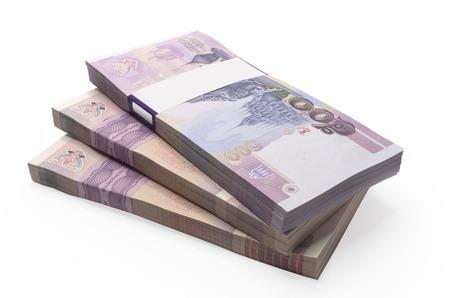 Thailand Banknoten Preis von hundert und fünfhundert isoliert auf weißem Hintergrund. Standard-Bild - 25786353