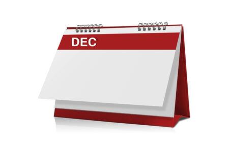 december calendar: Calendario dicembre � vuoto isolato su sfondo bianco con un tracciato di ritaglio.