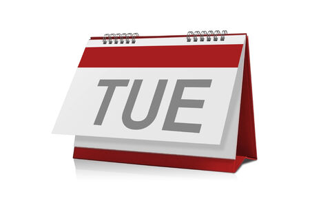 tuesday: Calendar of Tuesday  is empty Isolated on white background