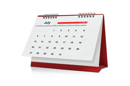 july calendar: July calendar is empty Isolated on white background.