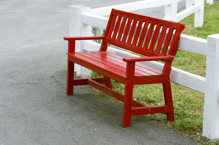 aisles: Red bench in the side aisles. Ranch.