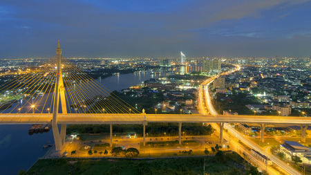 bhumibol: High angle view of Bangkok, Rama 3 area at dusk. Stock Photo