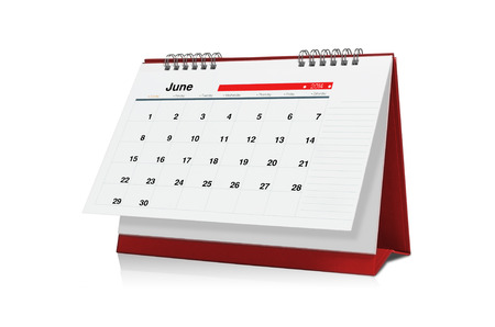 June calendar is empty Isolated on white background.