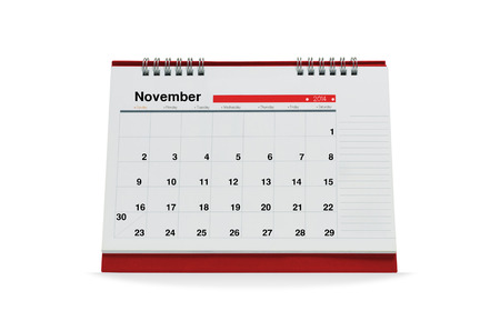 november calendar: November calendar  is empty Isolated on white