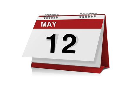 calendario escritorio: 12 de mayo del calendario de escritorio aislado en blanco Foto de archivo
