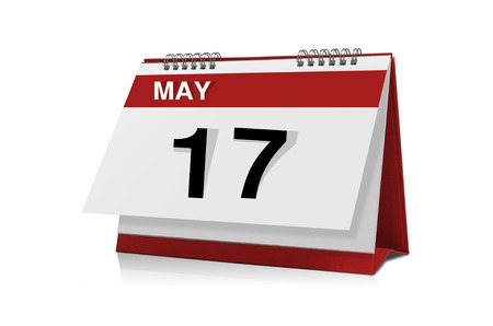 May 17 desktop calendar isolated on white