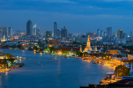 Wat Arun temple in Bangkok. Thailand is the oldest archaeological site at twilight.