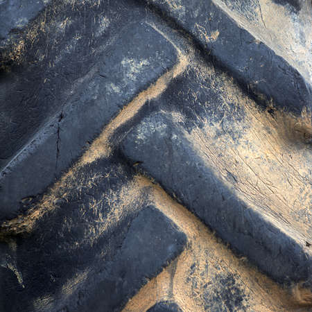 Close-up of old tractor tyre  photo