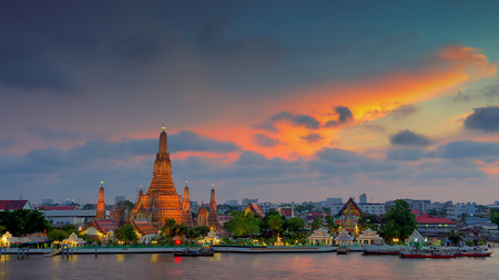 Wat Arun temple in Bangkok. Thailand is the oldest archaeological site at night.