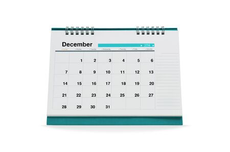 December calendar is empty Isolated on white background with clipping paths.