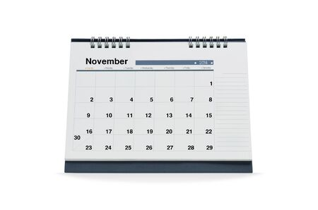 November calendar  is empty Isolated on white background with clipping paths.