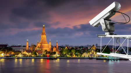 detection: CCTV Motion Detection The background is Wat Arun (Temple of down) in Bangkok. Stock Photo