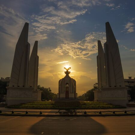 atop: Sunset atop the Democracy Monument. Stunning picture (Bangkok, Thailand). Stock Photo