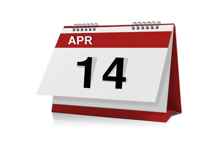 14: April 14 desktop calendar isolated on white background with clipping path.