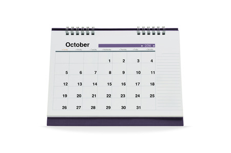october calendar: October calendar is empty Isolated on white background with clipping paths.