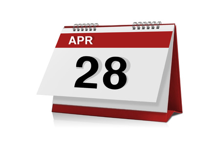 28: April 28 desktop calendar isolated on white background with clipping path.