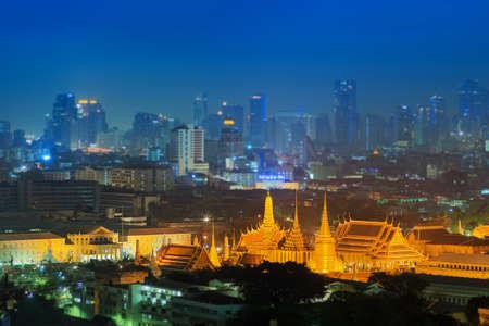 bangkok landmark: Grand palace at twilight in Bangkok, Thailand