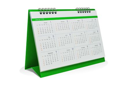 event planner: Desktop calendar 2015 isolated on a white background with clipping paths. Stock Photo
