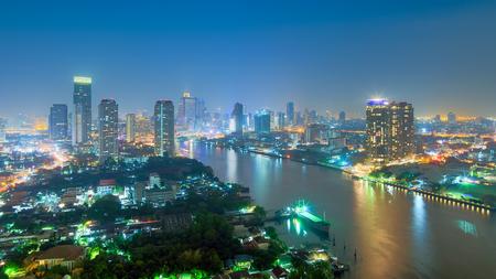 bangkok NIGHT: Landscape of Bangkok. Night view of Bangkok property. River at dusk. Stock Photo