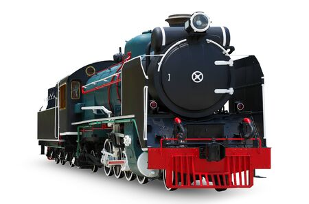 steam engine: Antique steam engine train isolated on white background, with clipping path.