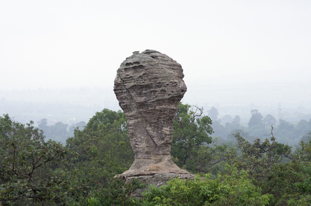 historic world event: Cup-shaped stone The Pa Hin Ngam National Park in Chaiyaphum, Thailand.