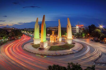 democracy Monument: Blurred lights and traffic lights Twilight time at the Democracy Monument in Bangkok, Thailand.