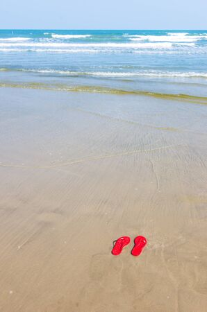 flops: Red Flip flops on a tropical beach with gentle wave Stock Photo