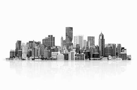 highrise: Modern high-rise buildings Isolated on white background, with clipping path. Black & White style. Stock Photo