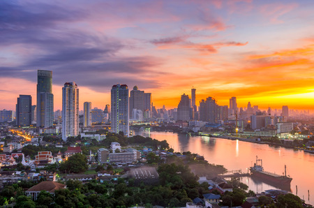 city of sunrise: Bangkok City and the river,Hotel and resident area in the capital of Thailand at beautiful sunrise.