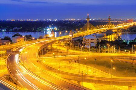 nonthaburi: Landscape Nonthaburi Bridge during Twilight, beautiful sky.