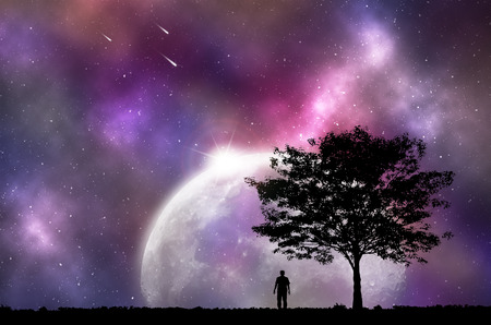 man looking at sky: Silhouette man and tree, with beautiful night sky, Concept looking out to the outside world. Stock Photo