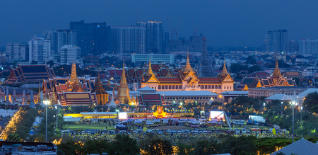 5 december: BANGKOK, THAILAND - DEC 5, View at Sanam Luang and Grand palace, 5 December 2015. People gathering here to see fireworks and celebrate His Majesty the Kings birthday. Editorial
