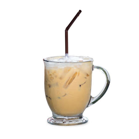espresso cup: Iced coffee latte with milk in glass clear, Isolated on white background with clipping path Stock Photo