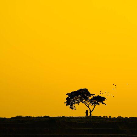 ridge: Couple silhouette under a tree on the ridge, Romantic atmosphere.