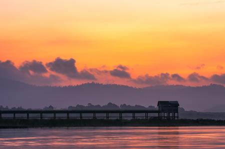 chonburi: Beautiful morning landscape Pier Bang Phra Reservoir Chonburi, Thailand.