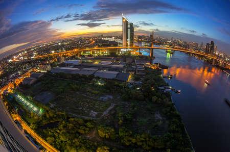 ix: Bangkok, July 11: KASIKORN BANK headquarters skyline at dusk from the top view July 11.2015 in Bangkok near Rama IX bridge. Stock Photo