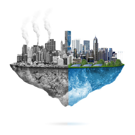 Green ecology city against pollution - sustainable development concept. Stock Photo