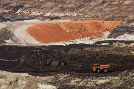 heavy machinery: Heavy machinery Digging for coal Mae Moh mine in Lampang