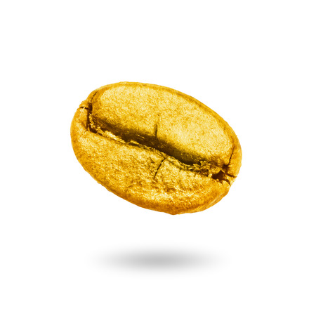 Coffee bean gold isolated on a white background with clipping path.